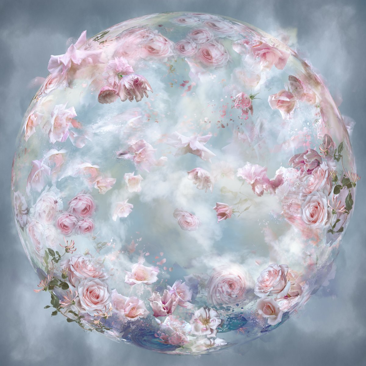 floral sphere filled with pink flowers and clouds