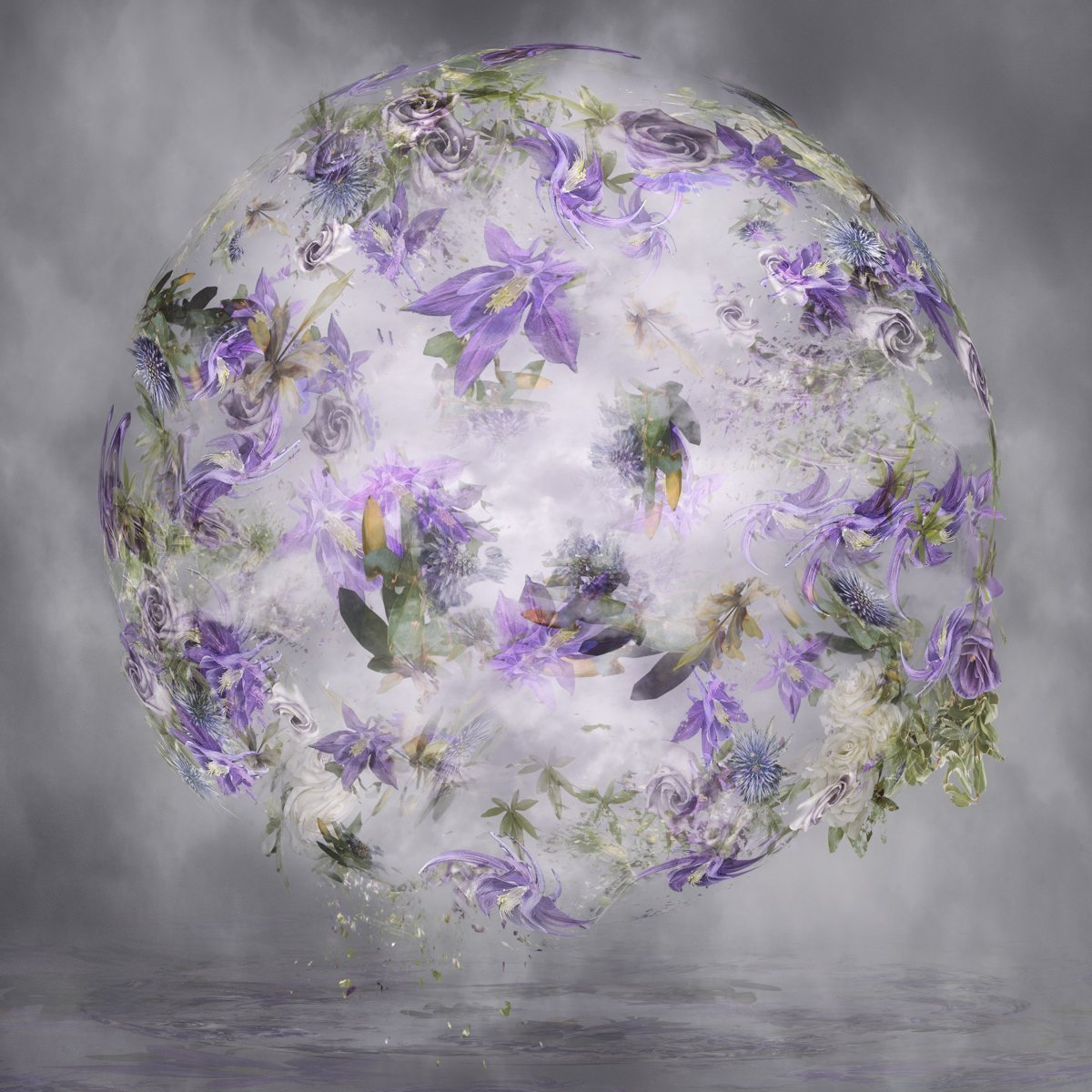photo art including columbine, roses and clouds in a floral sphere