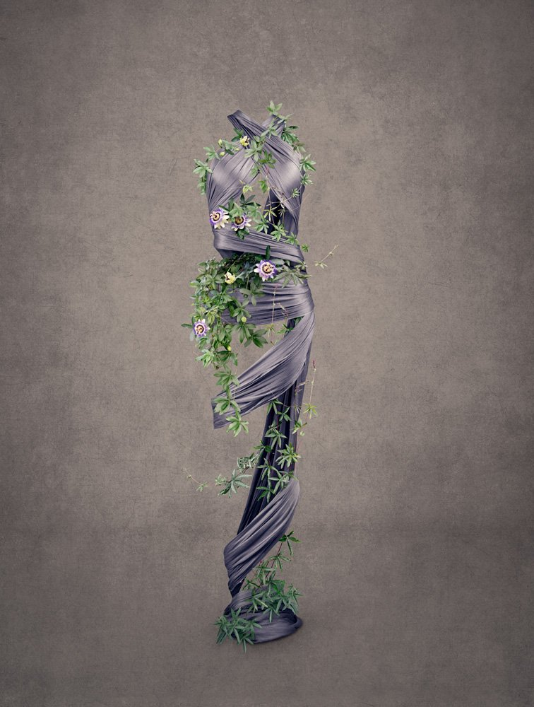 figurative art combining passion flowers and silk scarves to represent the female form