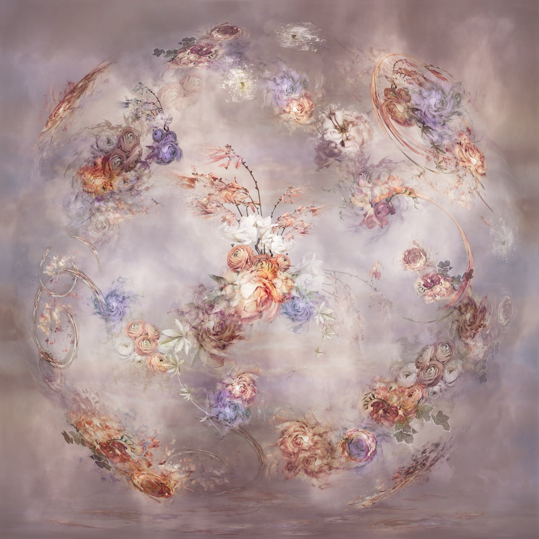 ranunculus, crocsmia dn roses swirled with clouds