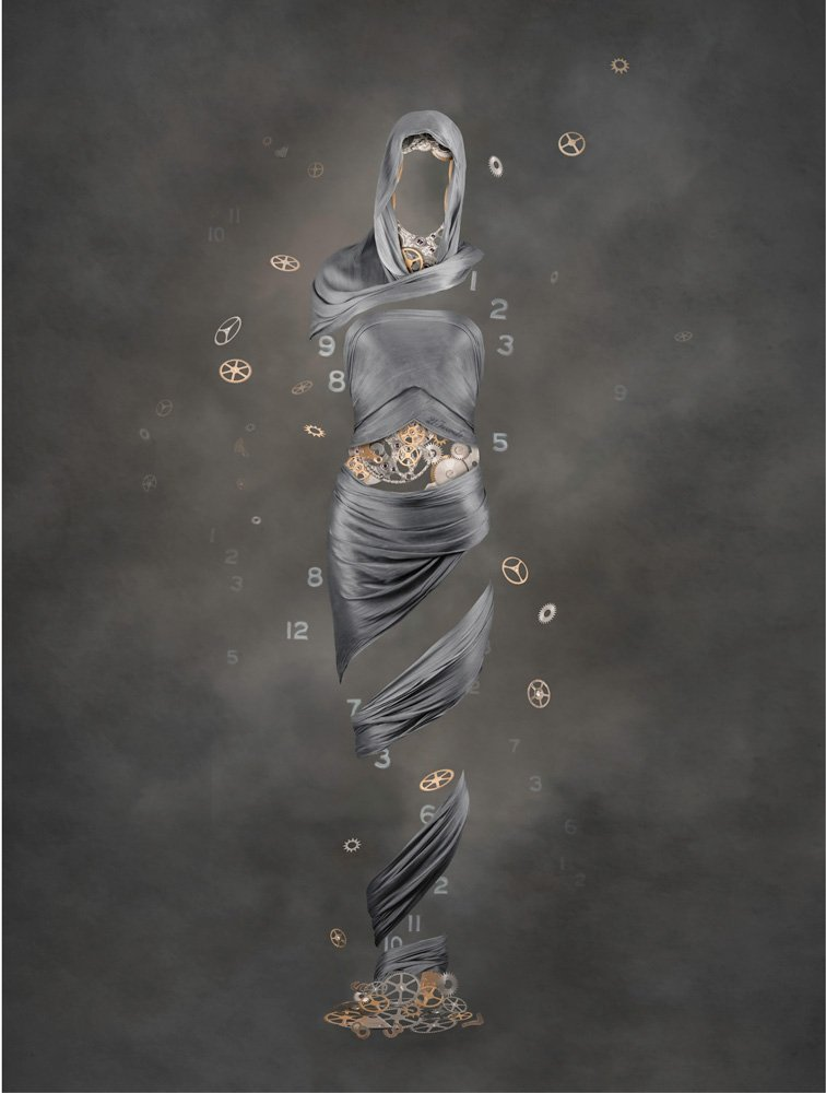 figurative art with silk scarves depicting the female form with cogs representing the passing of time