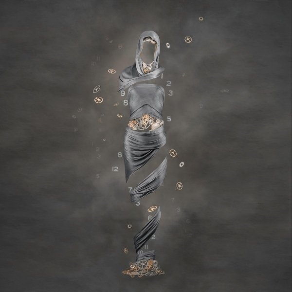figurative photo art with draped silks and cogs depicting the passing of time