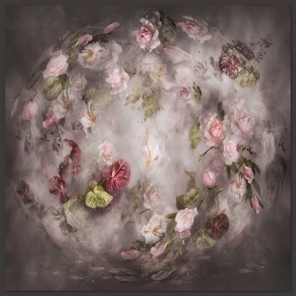 photographic art featuring flowers and clouds in a sphere