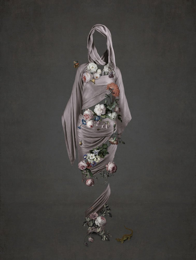 Figurative photo art featuring painted roses from 1600s