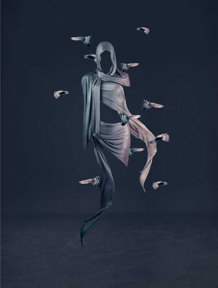 figurative photo art featuring the human form and fish