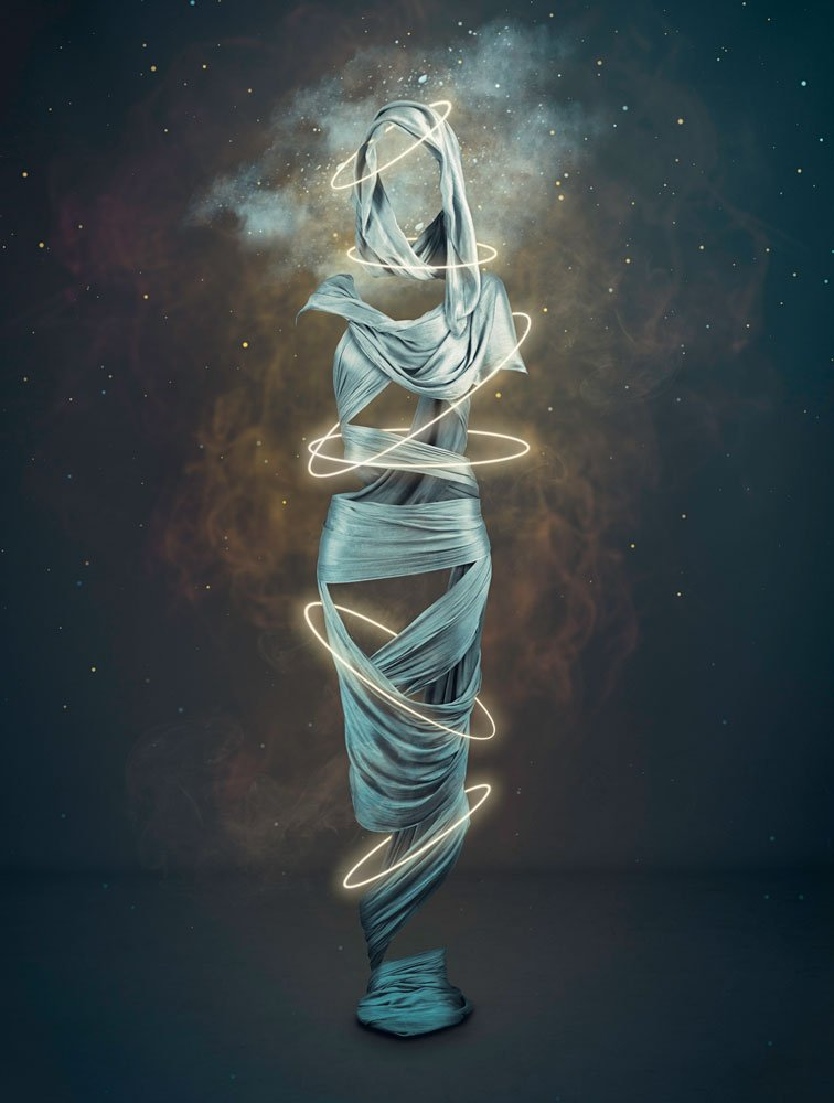 figurative photo art depicting a silk wrapped figure and mystic rings representing clairvoyance